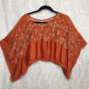 Free People boho orange embroidered crop top XS